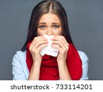 sickness woman blow on nose in... | Shutterstock . vector #733114201