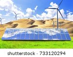 photovoltaic power generation... | Shutterstock . vector #733120294