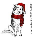 husky's dog  in a knitted red...   Shutterstock .eps vector #733124434