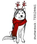 husky's dog  in a knitted red... | Shutterstock .eps vector #733124461