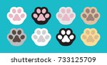 Stock vector cat paw dog paw vector icon illustration 733125709