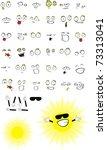 sun cartoon set in vector... | Shutterstock .eps vector #73313041