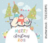 funny penguins friends... | Shutterstock .eps vector #733135891
