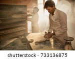 in a traditional bakery  bakers ... | Shutterstock . vector #733136875