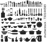 set of kitchen untesils | Shutterstock .eps vector #733144585