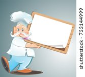 cartoon chef with blank   menu | Shutterstock .eps vector #733144999