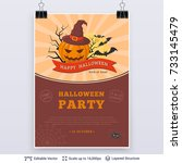 halloween party poster. bright... | Shutterstock .eps vector #733145479