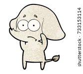 cartoon unsure elephant | Shutterstock .eps vector #733153114