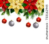 christmas decoration evergreen... | Shutterstock .eps vector #733162945