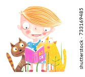 girl cat and dog reading book....   Shutterstock .eps vector #733169485