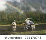 rainbow over the helicopter pad ...   Shutterstock . vector #733170745