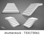 white stairs  3d staircases.... | Shutterstock .eps vector #733173061