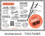 sushi menu for restaurant and... | Shutterstock .eps vector #733176385