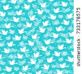 dove and olive branch pattern | Shutterstock .eps vector #733178575
