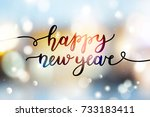 happy new year  lettering ... | Shutterstock .eps vector #733183411