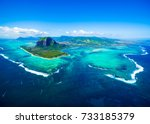 aerial view of mauritius island ... | Shutterstock . vector #733185379