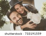 loving couple have fun in city... | Shutterstock . vector #733191559