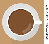 cup of coffee top view. flat... | Shutterstock .eps vector #733192075
