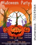 halloween party flyer with... | Shutterstock .eps vector #733193464