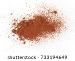 pile cocoa powder isolated on... | Shutterstock . vector #733194649