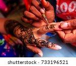 henna is a dye prepared from... | Shutterstock . vector #733196521