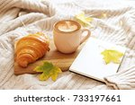 a cup of coffee cappuccino ... | Shutterstock . vector #733197661
