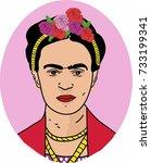 vector hand draw frida kahlo  | Shutterstock .eps vector #733199341