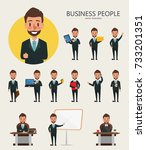set of businessman character... | Shutterstock .eps vector #733201351