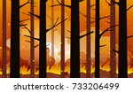 burning forest fire in... | Shutterstock .eps vector #733206499