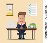 businessman sits at the table...   Shutterstock .eps vector #733206787