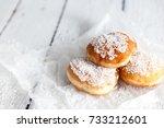 deep fried doughnuts filled... | Shutterstock . vector #733212601
