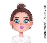 cute girl illustration.... | Shutterstock . vector #733217731