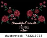 embroidery slogan | Shutterstock .eps vector #733219735