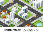 isometric 3d illustration city... | Shutterstock . vector #733223977