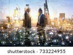 business men silhouettes in the ...   Shutterstock . vector #733224955