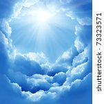 blue sky with sun and beautiful ... | Shutterstock . vector #73323571