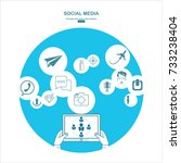 social media. flat design... | Shutterstock .eps vector #733238404