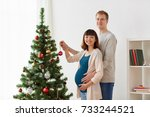 pregnancy  winter holidays and... | Shutterstock . vector #733244521