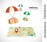 delivery service. parcels fly... | Shutterstock .eps vector #733246141