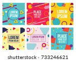 memphis style 6 cards.... | Shutterstock .eps vector #733246621