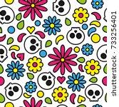 skull seamless pattern day of... | Shutterstock .eps vector #733256401