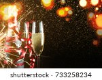 sparkling new year wishes.... | Shutterstock . vector #733258234
