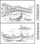 hand drawn rialto bridge and... | Shutterstock .eps vector #733260214