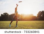 young athletic girl playing... | Shutterstock . vector #733260841