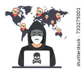 hacker sitting at the desktop... | Shutterstock .eps vector #733275001