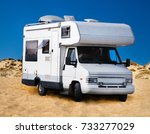 view of a camping caravan... | Shutterstock . vector #733277029