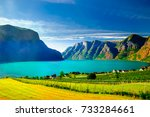 view on spring landscape by... | Shutterstock . vector #733284661