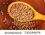 pile of buckwheat in a wooden... | Shutterstock . vector #733299079
