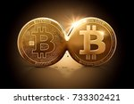 bitcoin gold emerging out of... | Shutterstock . vector #733302421
