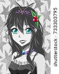 anime girl in black and white. | Shutterstock . vector #733303795